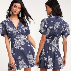 Free People Blue Hawaii Floral Short Sleeve Dress